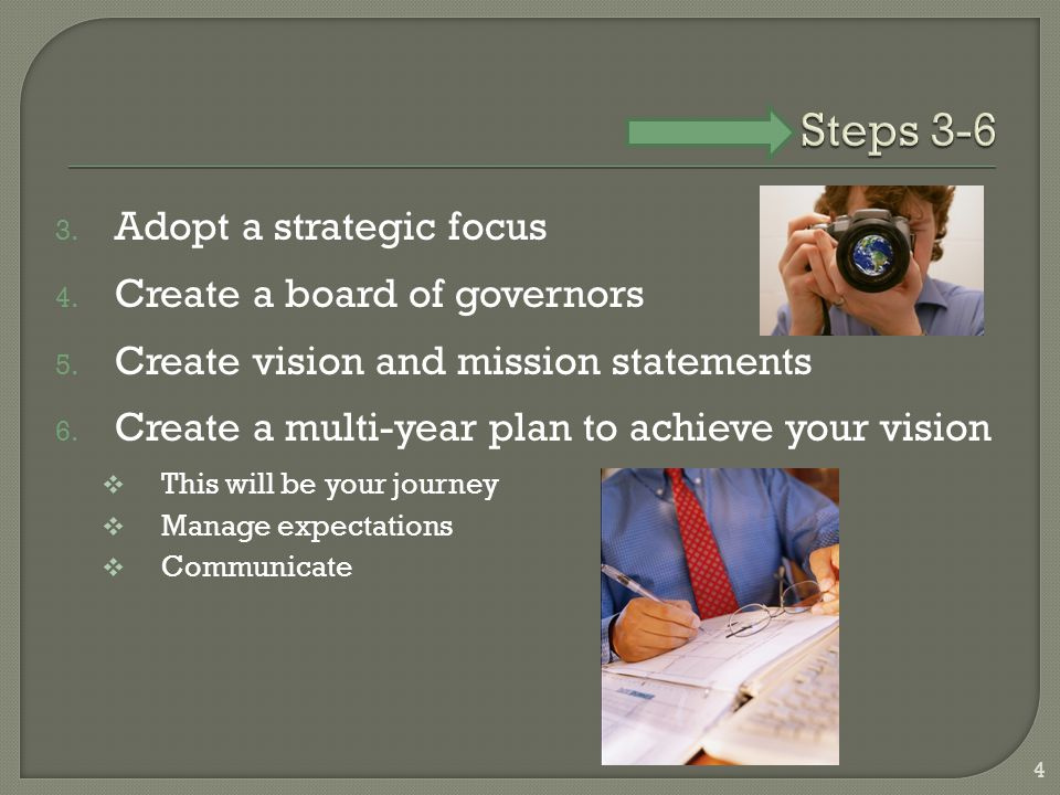 3. Adopt a strategic focus 4. Create a board of governors 5.