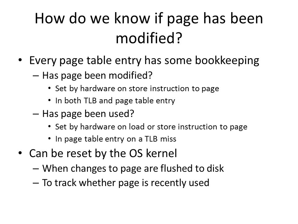How do we know if page has been modified.