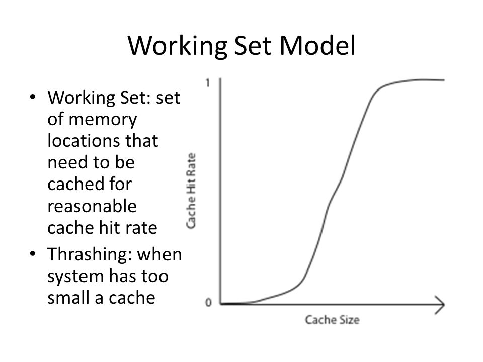Working Set Model Working Set: set of memory locations that need to be cached for reasonable cache hit rate Thrashing: when system has too small a cac