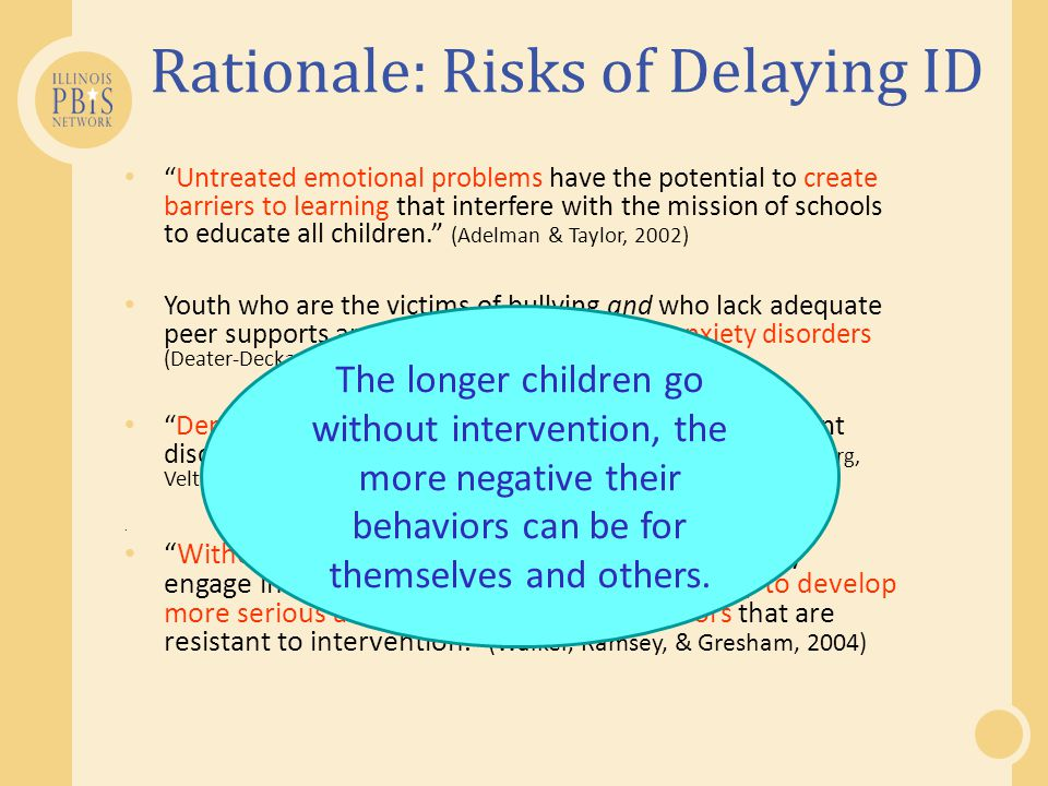 Untreated emotional problems have the potential to create barriers to learning that interfere with the mission of schools to educate all children. (Adelman & Taylor, 2002) Youth who are the victims of bullying and who lack adequate peer supports are vulnerable to mood and anxiety disorders (Deater-Deckard, 2001; Hawker & Boulton, 2000) Depressive disorders are consistently the most prevalent disorders among adolescent suicide victims (Gould, Greenberg, Velting, & Shaffer, 2003).