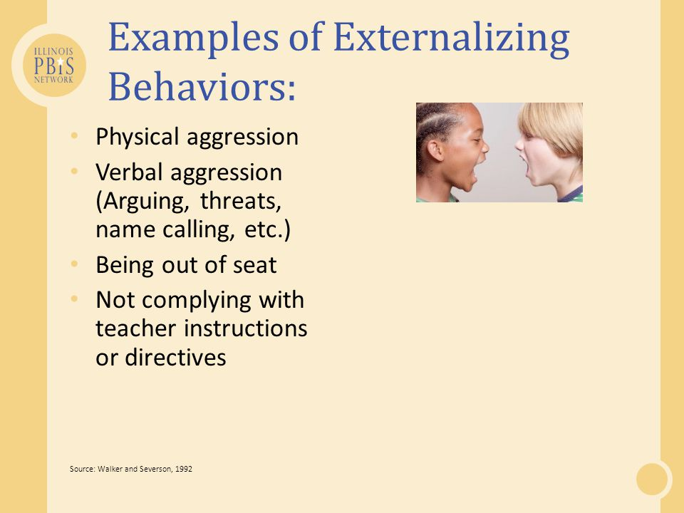 Examples of Externalizing Behaviors: Physical aggression Verbal aggression (Arguing, threats, name calling, etc.) Being out of seat Not complying with