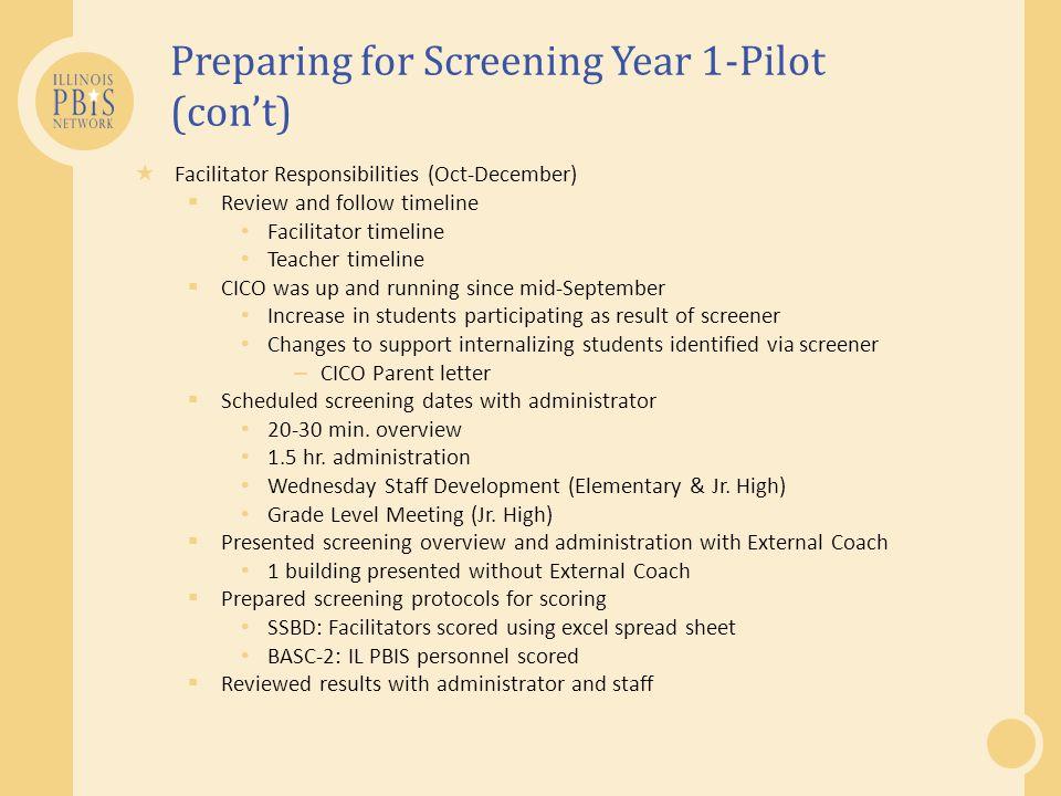 Preparing for Screening Year 1-Pilot (con't)  Facilitator Responsibilities (Oct-December)  Review and follow timeline Facilitator timeline Teacher t