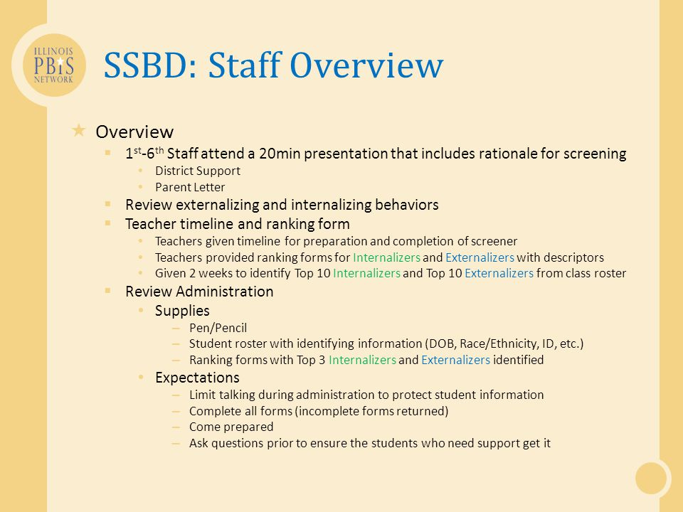 SSBD: Staff Overview  Overview  1 st -6 th Staff attend a 20min presentation that includes rationale for screening District Support Parent Letter 
