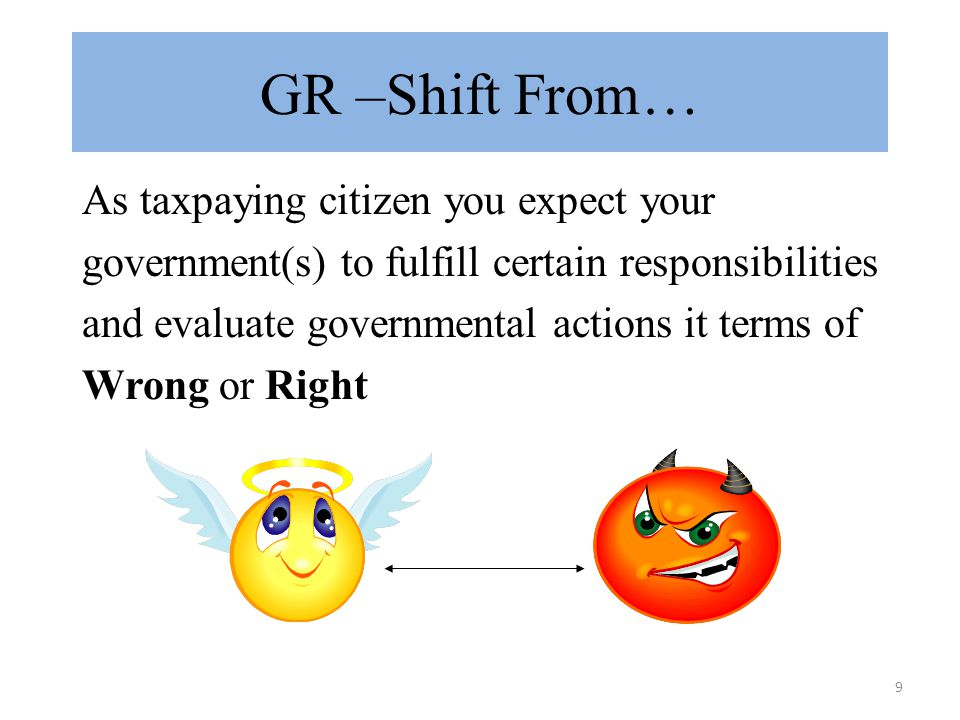 10 GR –Shift To… As a person acting in the interests of an Organization/Association you need to view government(s) as rulemaker and view governmental actions through a lens of Losers & Winners