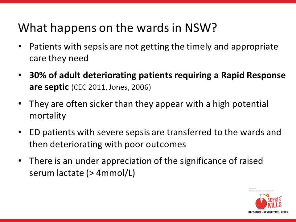 What happens on the wards in NSW? Patients with sepsis are not getting the timely and appropriate care they need 30% of adult deteriorating patients r