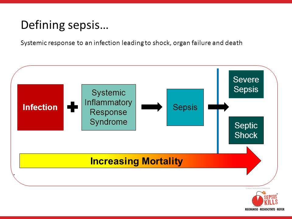 Defining sepsis… Systemic response to an infection leading to shock, organ failure and death Systemic Inflammatory Response Syndrome Infection Sepsis Severe Sepsis Septic Shock Increasing Mortality