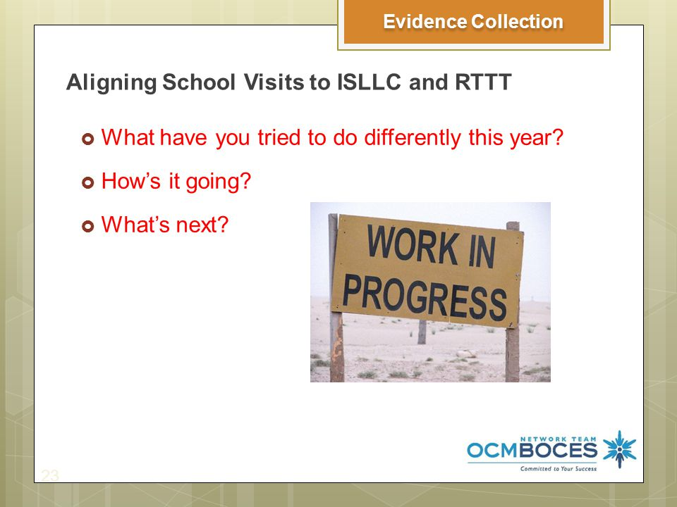 Aligning School Visits to ISLLC and RTTT 23 Evidence Collection  What have you tried to do differently this year.