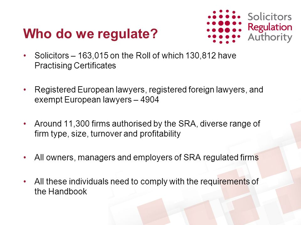 Regulatory Settlement Agreements Policy on RSAs is on our web site: –www.sra.org.uk/sra/how-we-work/decision-making/old- critera/regulatory-settlement-agreement-decision-to-enter- into.page Regulatory decision accepted by the solicitor on agreed terms Usually published for transparency Proportionate outcome achieved at reasonable cost in the public interest