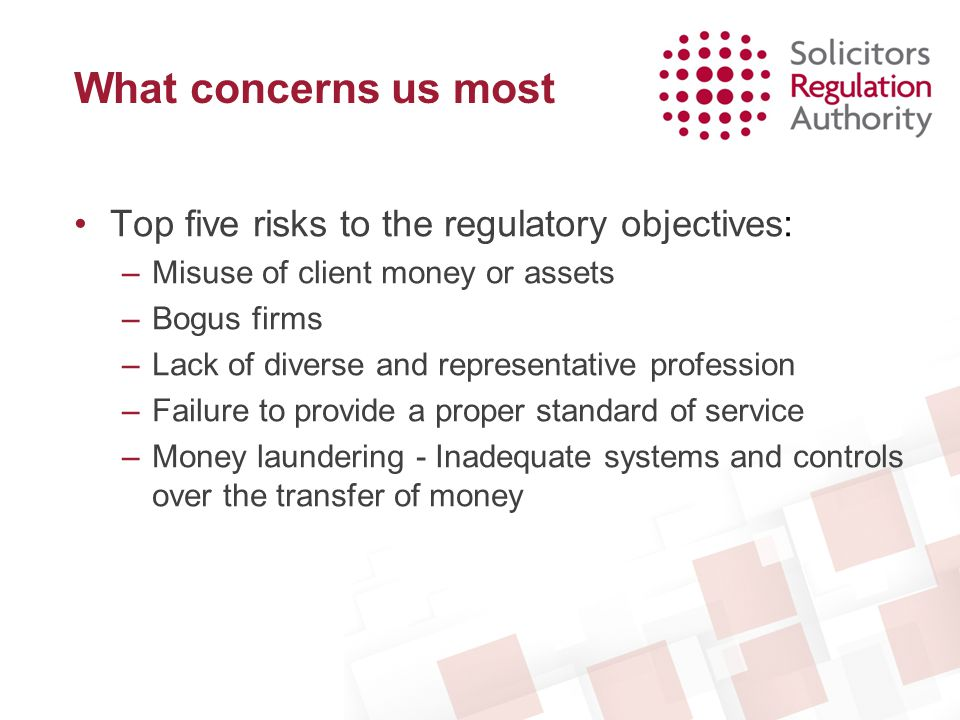 What concerns us most Top five risks to the regulatory objectives: –Misuse of client money or assets –Bogus firms –Lack of diverse and representative