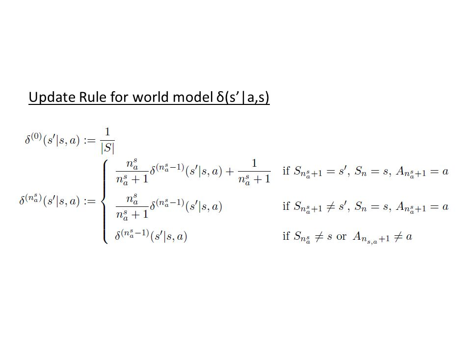 Update Rule for world model δ(s'|a,s)