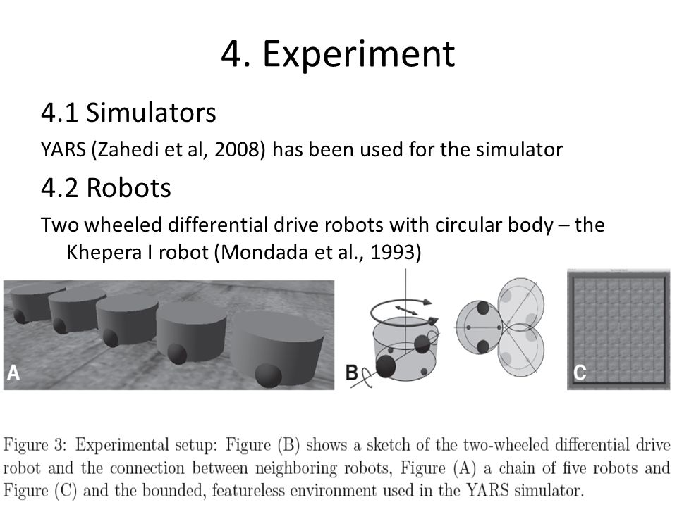 4. Experiment 4.1 Simulators YARS (Zahedi et al, 2008) has been used for the simulator 4.2 Robots Two wheeled differential drive robots with circular