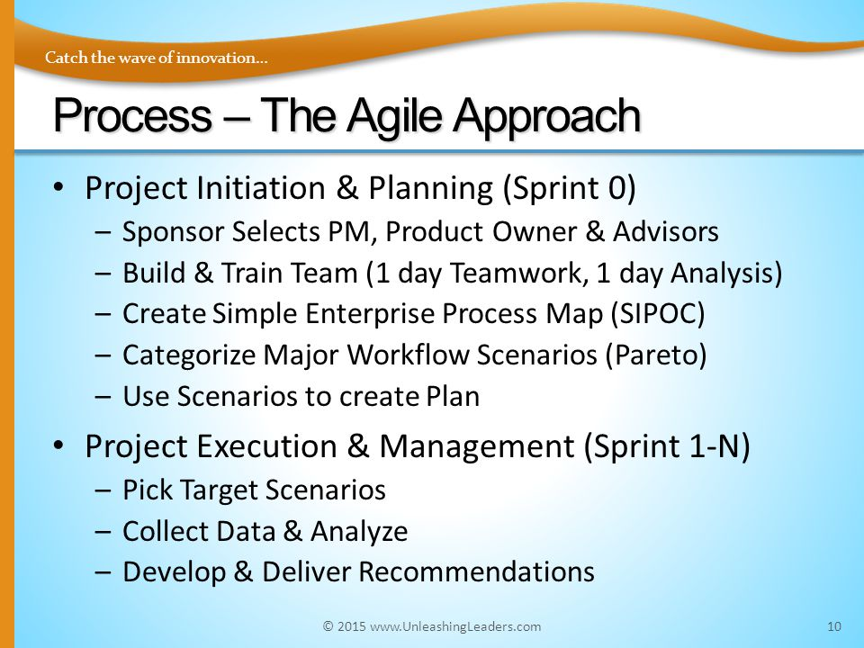 Catch the wave of innovation… Process – The Agile Approach Project Initiation & Planning (Sprint 0) –Sponsor Selects PM, Product Owner & Advisors –Build & Train Team (1 day Teamwork, 1 day Analysis) –Create Simple Enterprise Process Map (SIPOC) –Categorize Major Workflow Scenarios (Pareto) –Use Scenarios to create Plan Project Execution & Management (Sprint 1-N) –Pick Target Scenarios –Collect Data & Analyze –Develop & Deliver Recommendations 10© 2015 www.UnleashingLeaders.com
