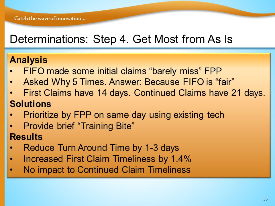 "Catch the wave of innovation… Determinations: Step 4. Get Most from As Is 35 Analysis FIFO made some initial claims ""barely miss"" FPP Asked Why 5 Time"