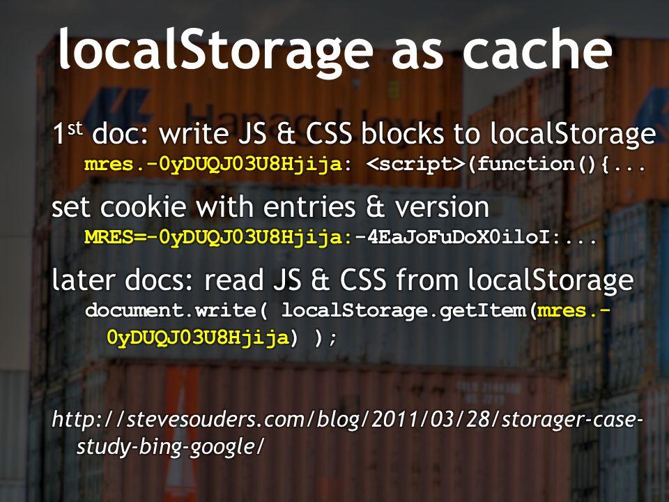 localStorage as cache