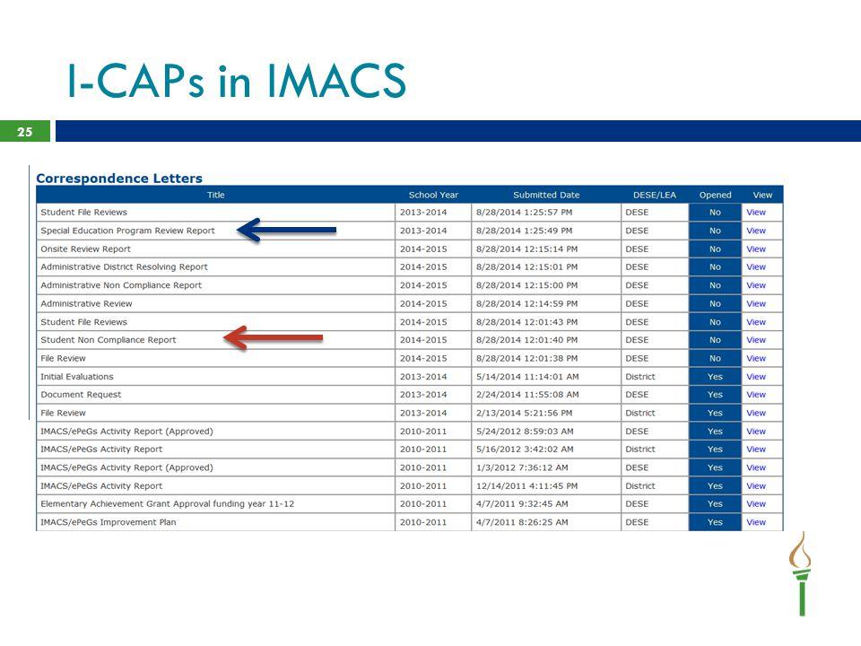 I-CAPs in IMACS 25