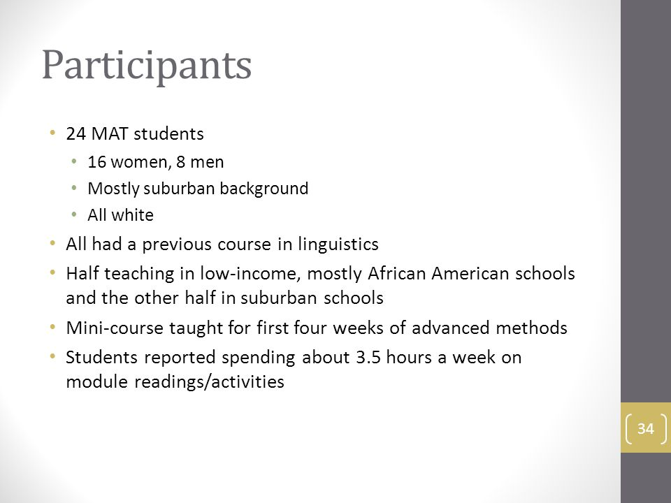Participants 24 MAT students 16 women, 8 men Mostly suburban background All white All had a previous course in linguistics Half teaching in low-income, mostly African American schools and the other half in suburban schools Mini-course taught for first four weeks of advanced methods Students reported spending about 3.5 hours a week on module readings/activities 34