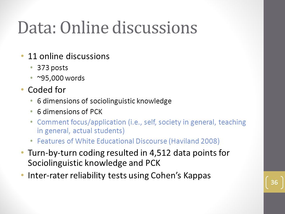 Data: Online discussions 11 online discussions 373 posts ~95,000 words Coded for 6 dimensions of sociolinguistic knowledge 6 dimensions of PCK Comment focus/application (i.e., self, society in general, teaching in general, actual students) Features of White Educational Discourse (Haviland 2008) Turn-by-turn coding resulted in 4,512 data points for Sociolinguistic knowledge and PCK Inter-rater reliability tests using Cohen's Kappas 36
