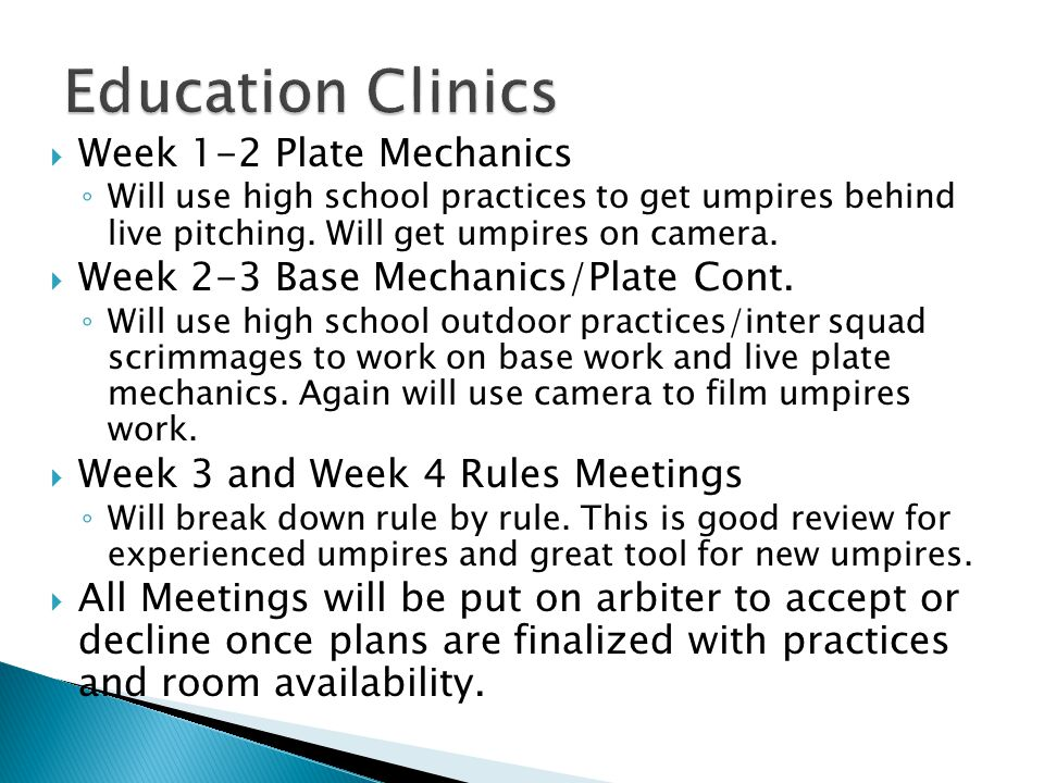  www.Umphub.com www.Umphub.com ◦ Proper Plate Conference ◦ Working the Plate ◦ Managing Arguments with Coaches ◦ Advantage/Disadvantage Calls  PSOA Observers ◦ Videos posted to youtube ◦ Observation forms submitted via PSOA website ◦ 59 Observations done last year.