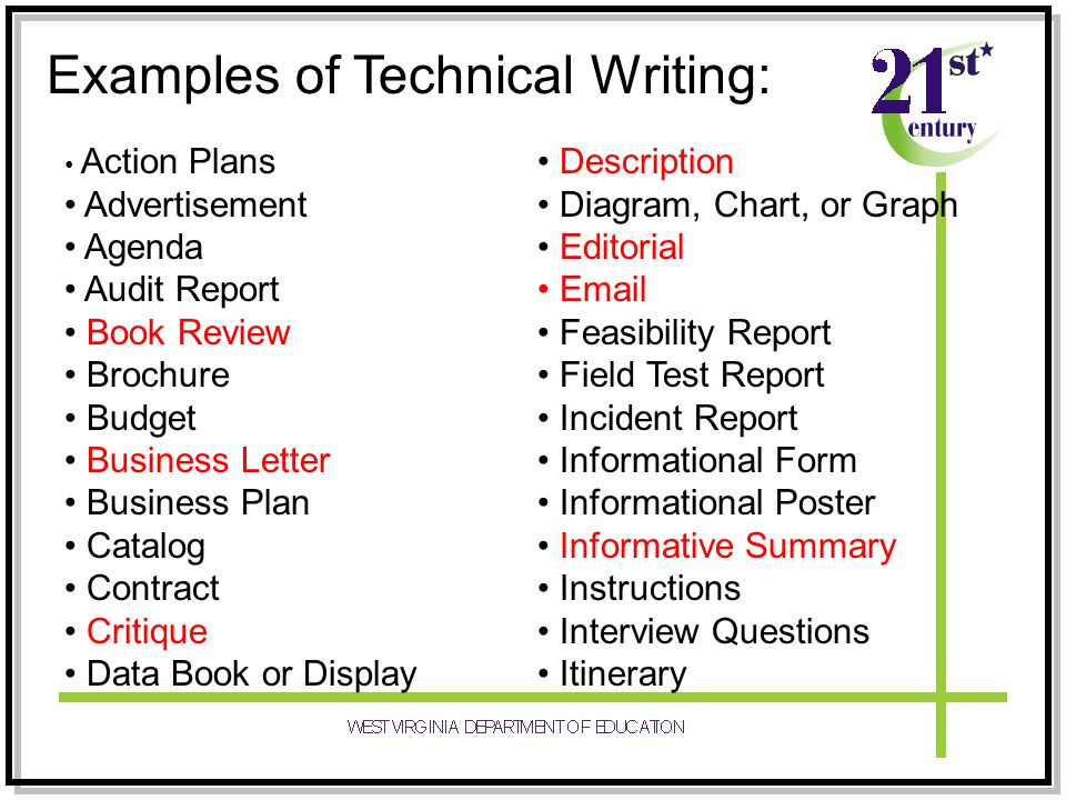 Examples of Technical Writing: Action Plans Advertisement Agenda Audit Report Book Review Brochure Budget Business Letter Business Plan Catalog Contract Critique Data Book or Display Description Diagram, Chart, or Graph Editorial Email Feasibility Report Field Test Report Incident Report Informational Form Informational Poster Informative Summary Instructions Interview Questions Itinerary