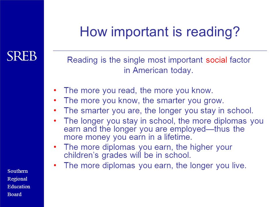 Southern Regional Education Board How important is reading.