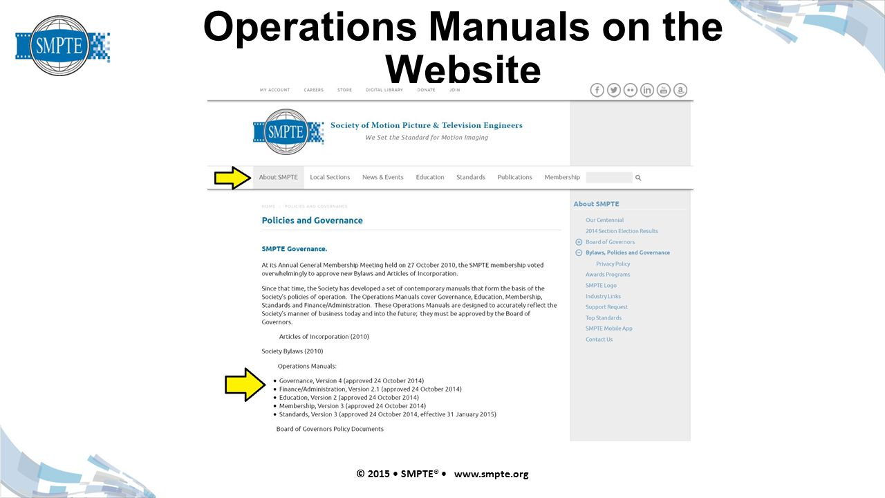 Operations Manuals on the Website © 2015 SMPTE® www.smpte.org