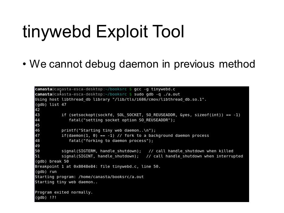 tinywebd Exploit Tool We cannot debug daemon in previous method