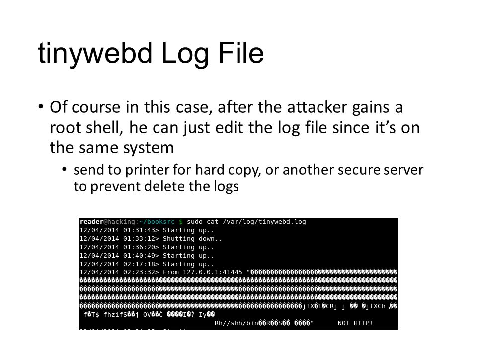 tinywebd Log File Of course in this case, after the attacker gains a root shell, he can just edit the log file since it's on the same system send to printer for hard copy, or another secure server to prevent delete the logs