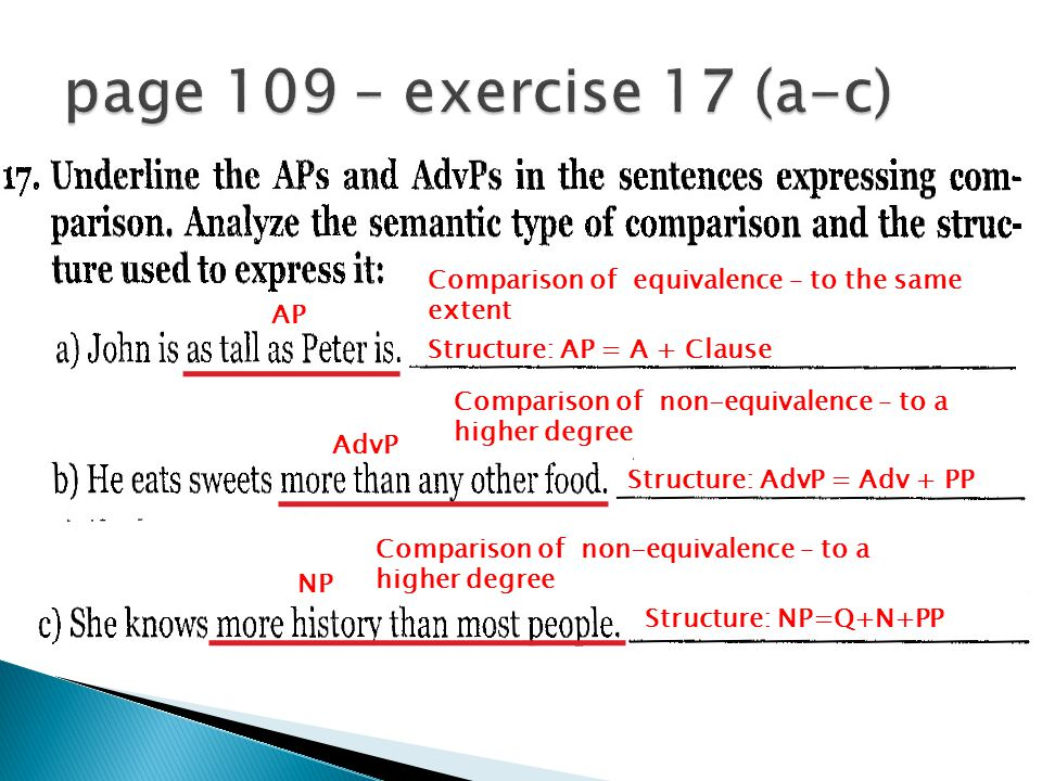 AP Comparison of equivalence – to the same extent Structure: AP = A + Clause AdvP Comparison of non-equivalence – to a higher degree Structure: AdvP = Adv + PP NP Comparison of non-equivalence – to a higher degree Structure: NP=Q+N+PP