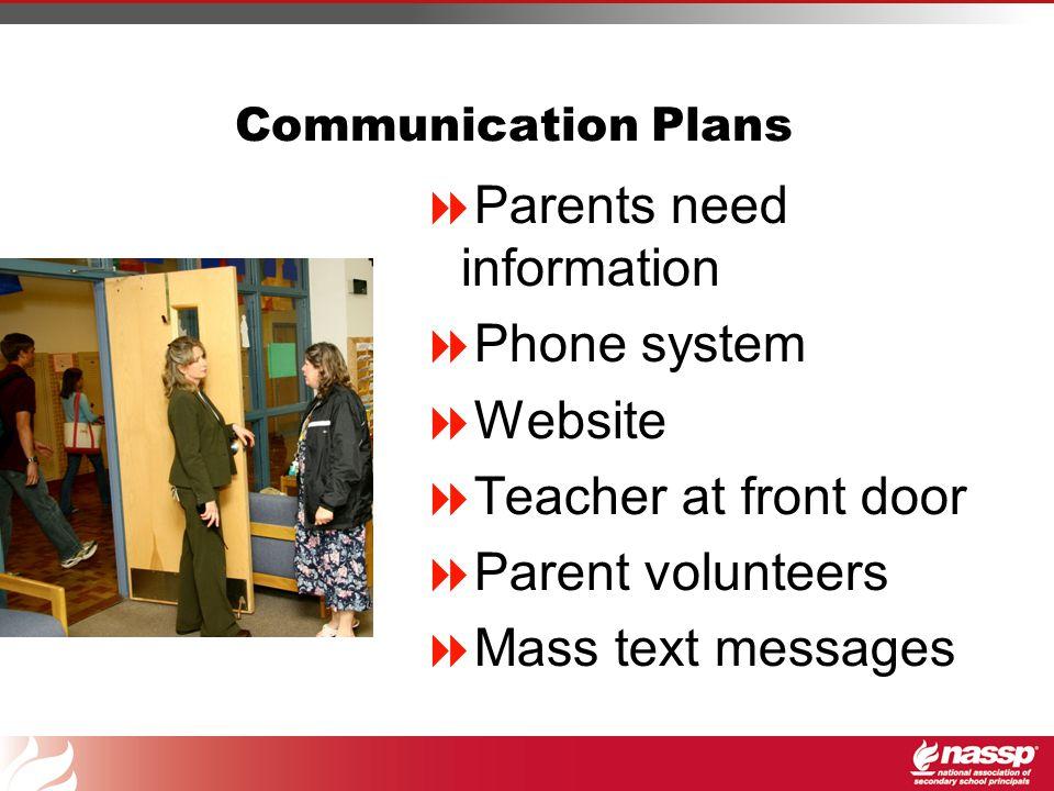 Communication Plans  Parents need information  Phone system  Website  Teacher at front door  Parent volunteers  Mass text messages