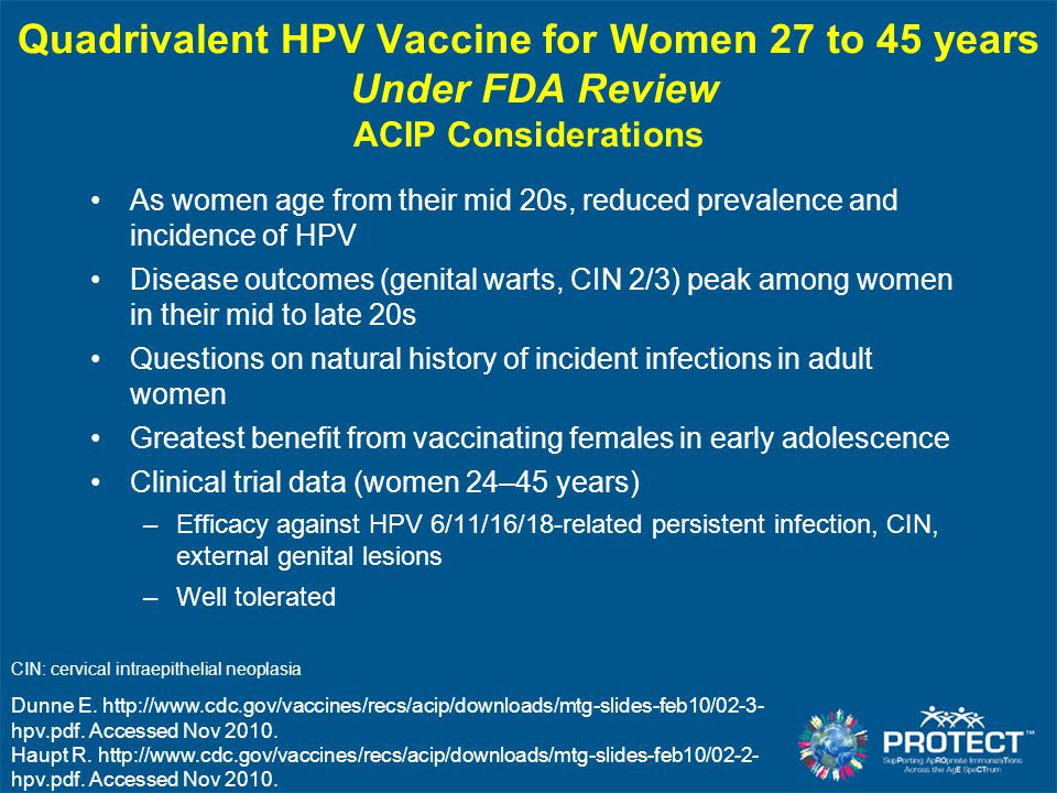 HPV Quadrivalent Vaccine in Males FDA approved quadrivalent HPV vaccine for boys and men ages 9 through 26 ACIP: Permissive HPV vaccine for males CDC.