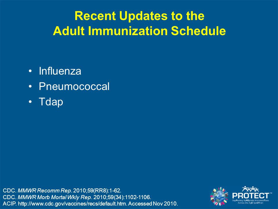 HPV – ACIP Recommendations Quadrivalent HPV (HPV4) and Bivalent HPV (HPV2) Routine vaccination of females age 11 to 12 years –Catch-up 13-26 yrs (HPV4); 13-25 yrs (HPV2) ACIP: no preference for either vaccine HPV4 or HPV2 vaccination for prevention of HPV 16/18- related cervical cancers, pre-cancers, and dysplastic lesions Vaccination with HPV4 for additional prevention against genital warts, pre-invasive and invasive lesions of the vagina and vulva ACIP Schedules.