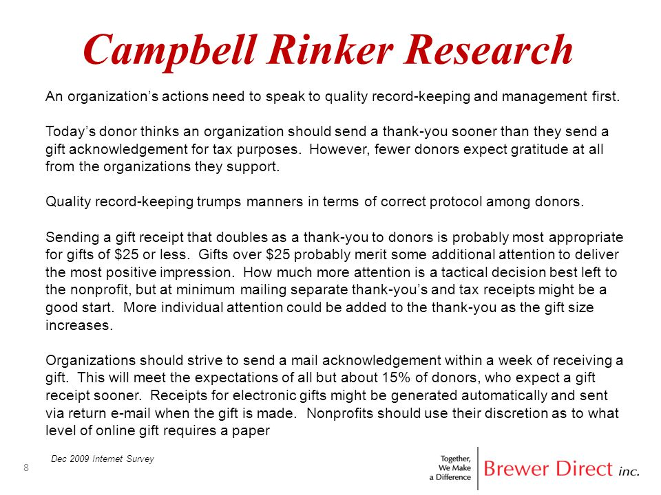 Campbell Rinker Research 8 Dec 2009 Internet Survey An organization's actions need to speak to quality record-keeping and management first.