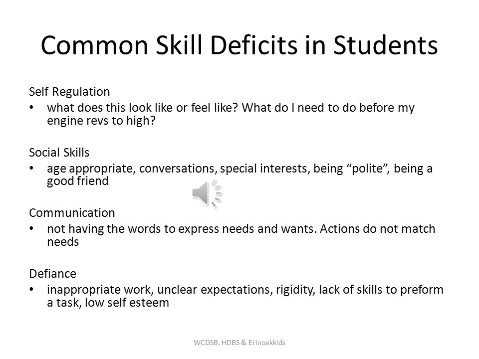 Common Skill Deficits in Students Self Regulation what does this look like or feel like.