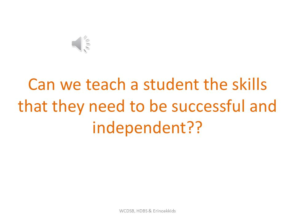 Can we teach a student the skills that they need to be successful and independent?.