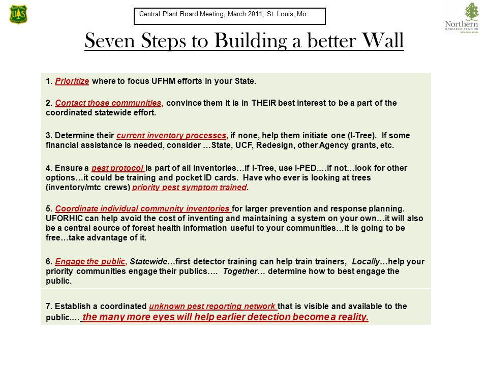Seven Steps to Building a better Wall Central Plant Board Meeting, March 2011, St.