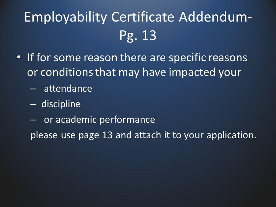 Employability Certificate Addendum- Pg.