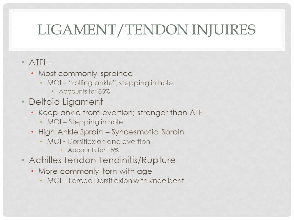"""LIGAMENT/TENDON INJUIRES ATFL– Most commonly sprained MOI – """"rolling ankle"""", stepping in hole Accounts for 85% Deltoid Ligament Keep ankle from everti"""