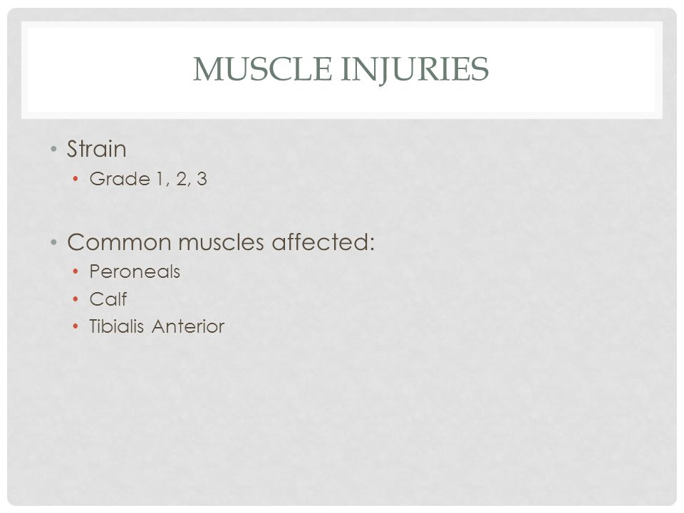 MUSCLE INJURIES Strain Grade 1, 2, 3 Common muscles affected: Peroneals Calf Tibialis Anterior