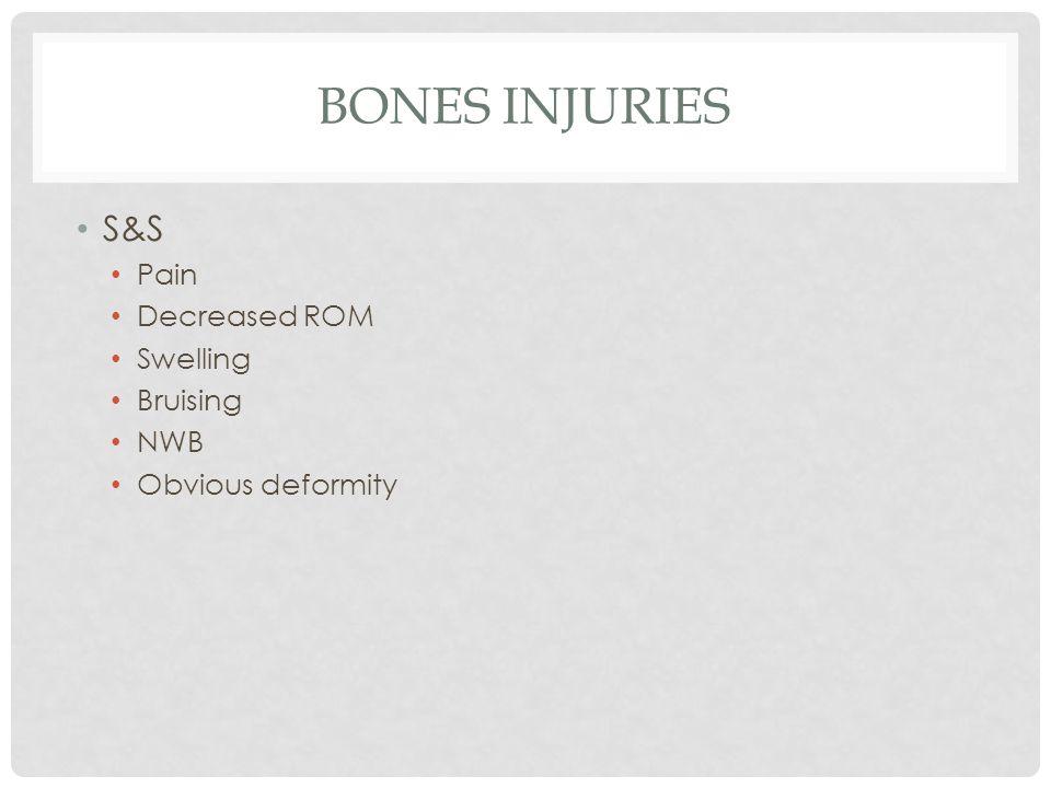 BONES INJURIES S&S Pain Decreased ROM Swelling Bruising NWB Obvious deformity