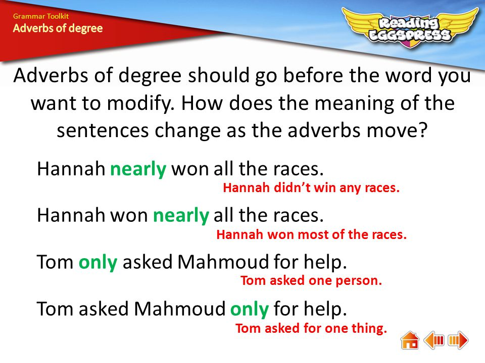 Grammar Toolkit Adverbs of degree should go before the word you want to modify. How does the meaning of the sentences change as the adverbs move? Hann