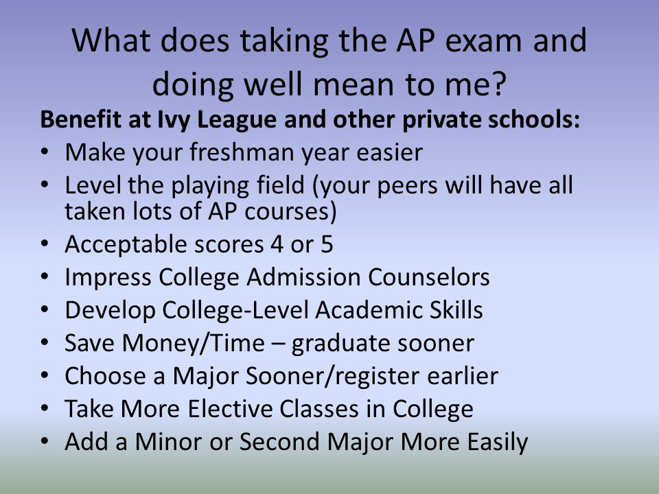 What does taking the AP exam and doing well mean to me.