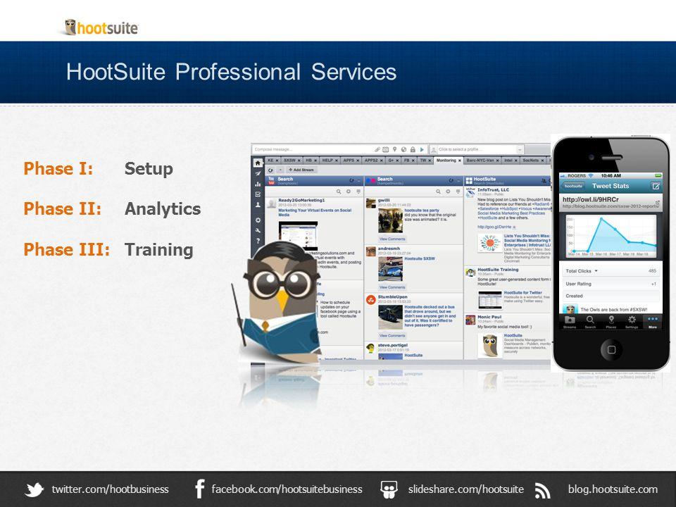 HootSuite Professional Services blog.hootsuite.comslideshare.com/hootsuitefacebook.com/hootsuitebusinesstwitter.com/hootbusiness Phase I: Setup Phase II: Analytics Phase III: Training