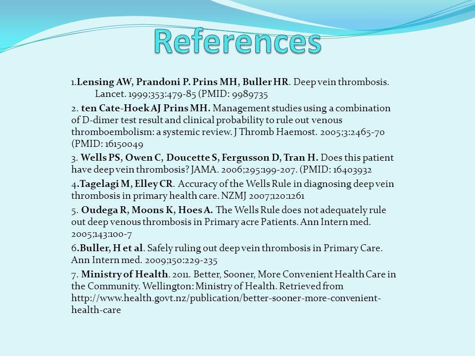 1.Lensing AW, Prandoni P. Prins MH, Buller HR. Deep vein thrombosis. Lancet. 1999;353:479-85 (PMID: 9989735 2. ten Cate-Hoek AJ Prins MH. Management s