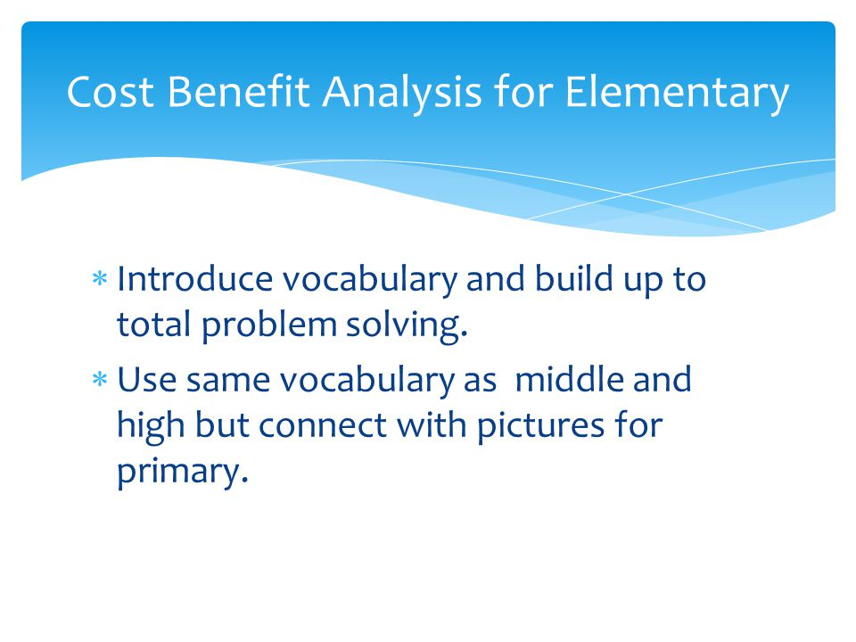  Introduce vocabulary and build up to total problem solving.