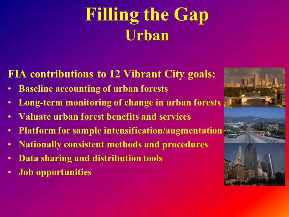 Filling the Gap Urban FIA contributions to 12 Vibrant City goals: Baseline accounting of urban forests Long-term monitoring of change in urban forests Valuate urban forest benefits and services Platform for sample intensification/augmentation Nationally consistent methods and procedures Data sharing and distribution tools Job opportunities