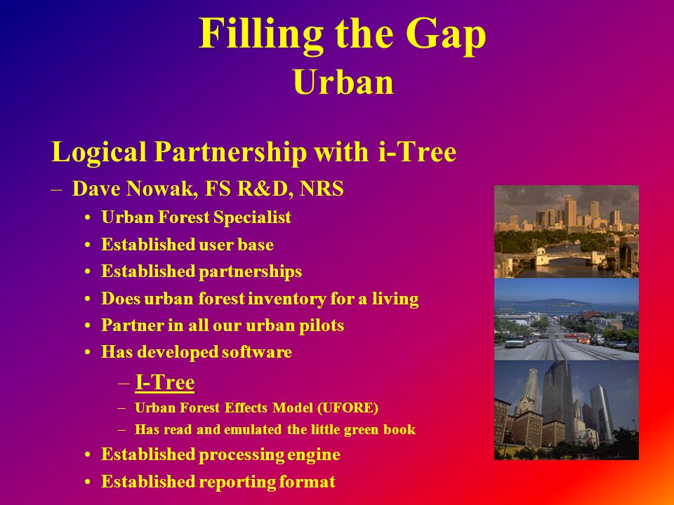 Filling the Gap Urban Logical Partnership with i-Tree –Dave Nowak, FS R&D, NRS Urban Forest Specialist Established user base Established partnerships Does urban forest inventory for a living Partner in all our urban pilots Has developed software –I-Tree –Urban Forest Effects Model (UFORE) –Has read and emulated the little green book Established processing engine Established reporting format