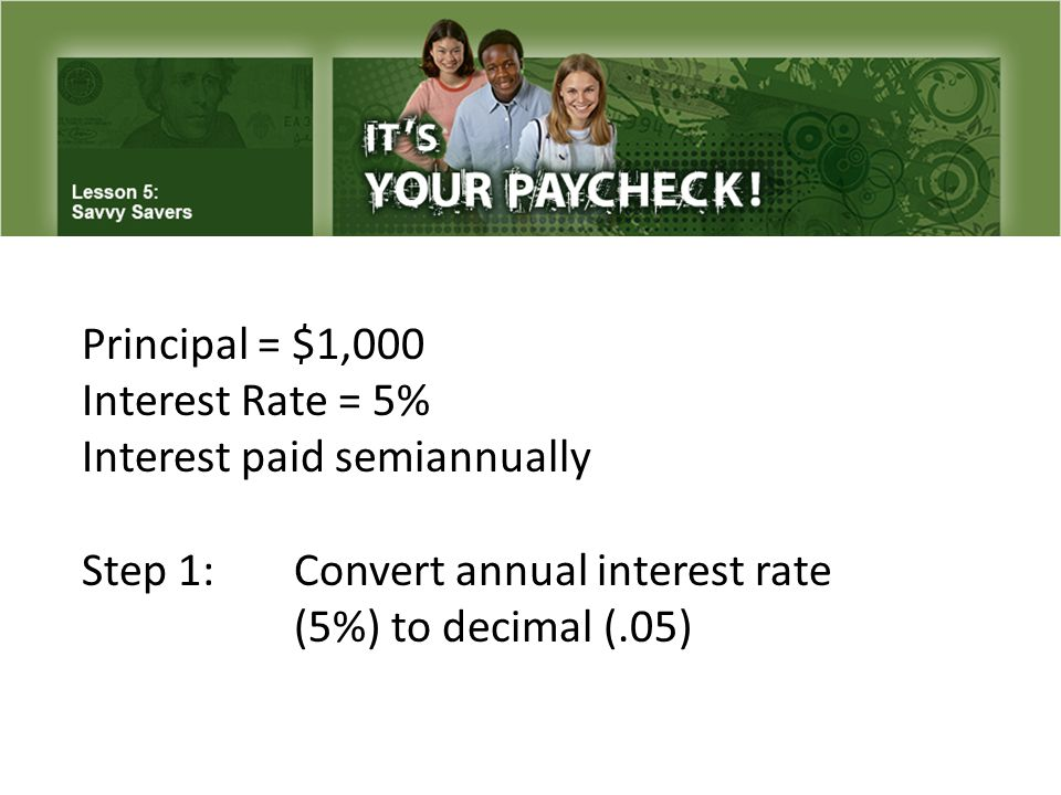 Principal = $1,000 Interest Rate = 5% Interest paid semiannually Step 1: Convert annual interest rate (5%) to decimal (.05)