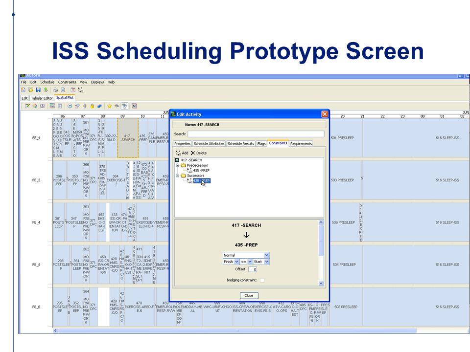 ISS Scheduling Prototype Screen