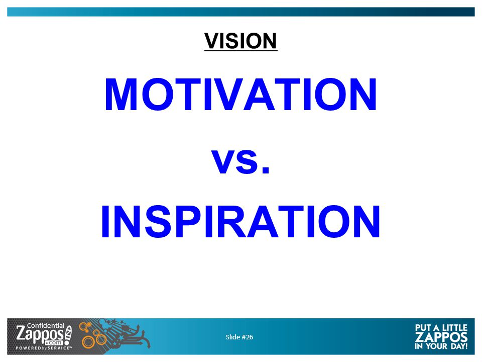 Confidential Slide #26 VISION MOTIVATION vs. INSPIRATION